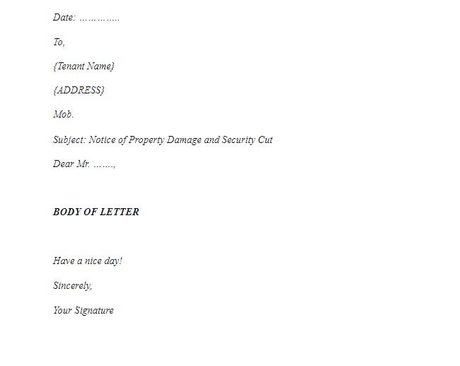 Damage letter format 2