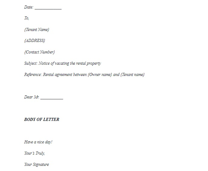 Notice to vacate letter sample format 1